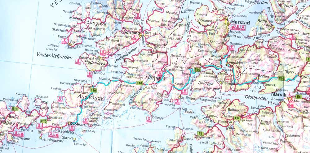 Схема маршрута Тромсе. Синим